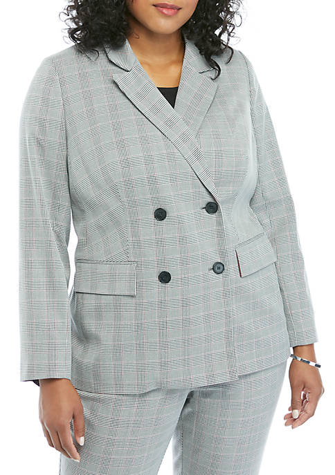 THE LIMITED Plus Size Double Breasted Plaid Blazer