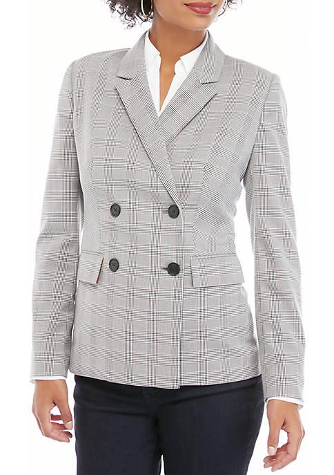 THE LIMITED Petite Double Breasted Plaid Blazer