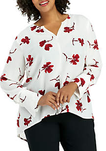 Plus Size High Low Printed Tunic