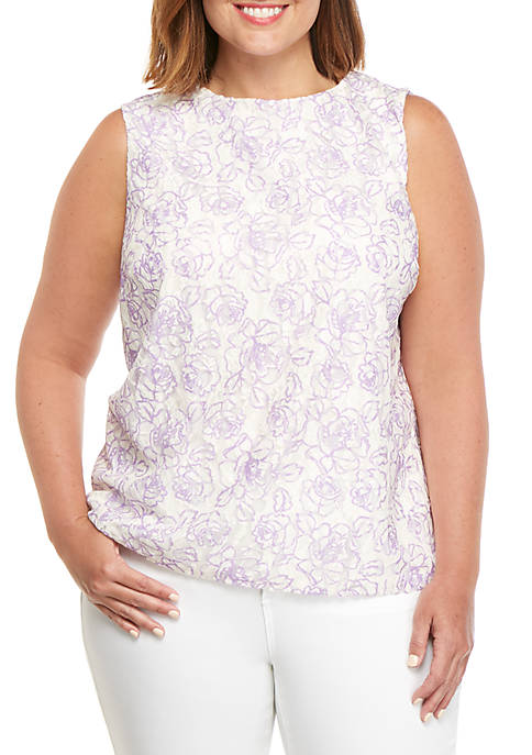 Plus Size Printed Lace Shell Top