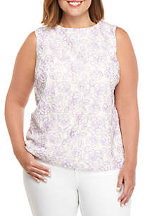 THE LIMITED Plus Size Printed Lace Shell Top