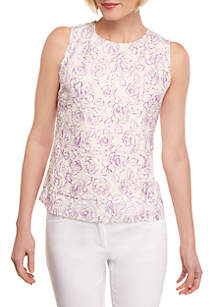 THE LIMITED Petite Printed Lace Shell Top