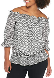 Plus Size Clip Dot Jacquard Off-the-Shoulder Blouse