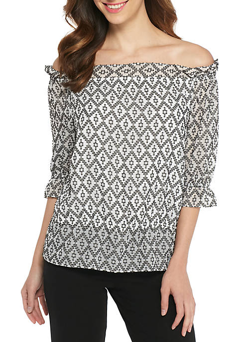 THE LIMITED Clip Dot Jacquard Off-the-Shoulder Blouse