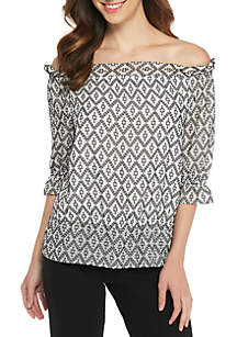 Clip Dot Jacquard Off-the-Shoulder Blouse