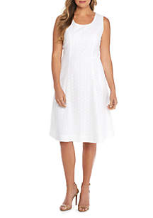 Plus Size Sleeveless Square Neck Cotton Dress