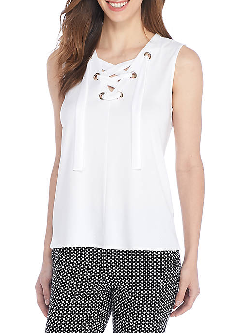THE LIMITED Sleeveless Tie Neck Top