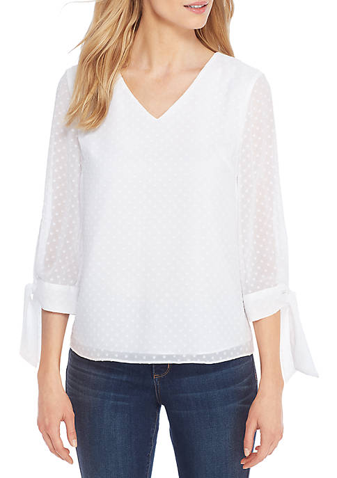 THE LIMITED Double V-Neck Clip Dot Blouse