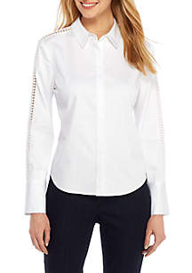 Wide Cuff Shirt with Lace Detail
