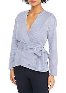 Petite Long Sleeve Tie Waist Wrap Shirt