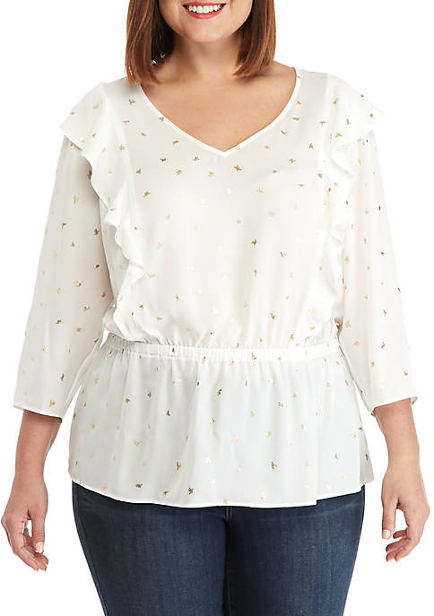 THE LIMITED Plus Size V-Neck Ruffle Front Blouse