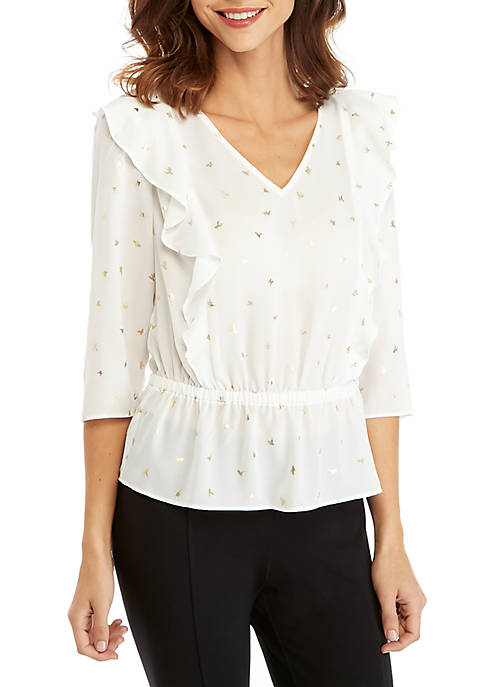 THE LIMITED Petite V-Neck Ruffle Front Blouse