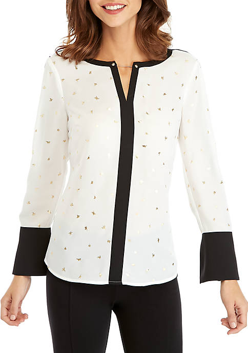 Contrast Bell Sleeve Blouse
