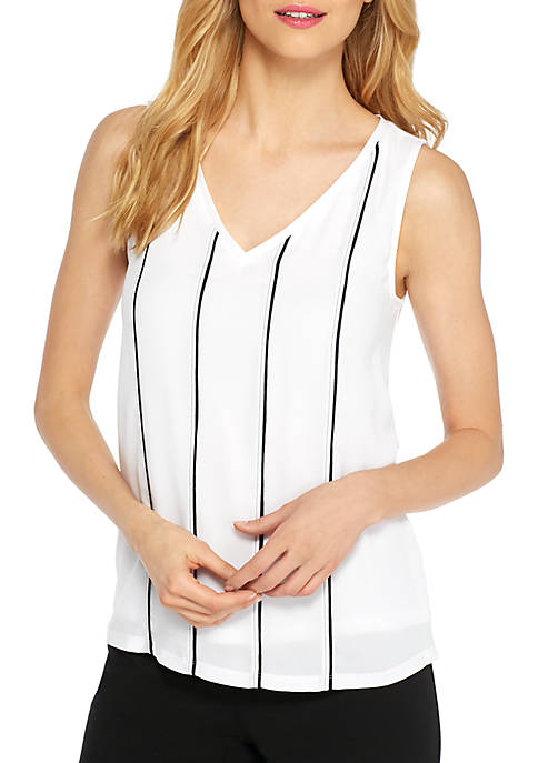 THE LIMITED V-Neck Pintuck Sleeveless Top