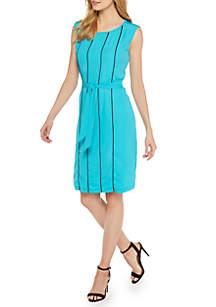 Contrast Pintuck Dress