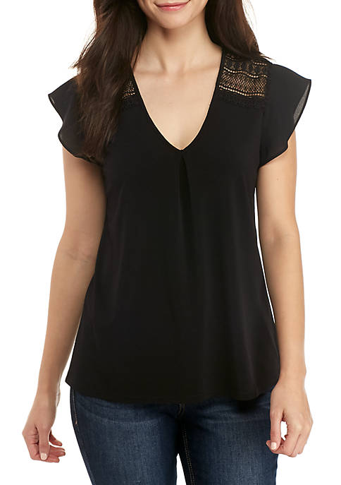 Petite Flutter Sleeve with Lace Shoulder Top