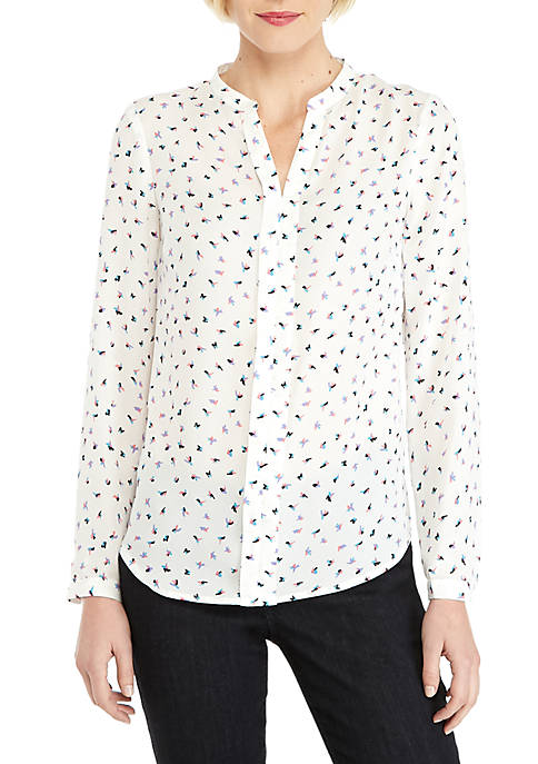 THE LIMITED Long Sleeve Pleat Front Blouse