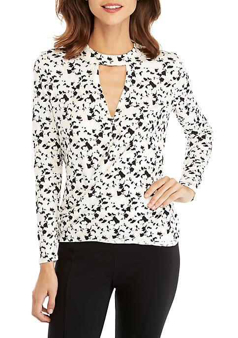 THE LIMITED Long Sleeve Drape Front Knit Top