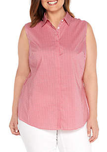 Plus Size Collared Sleeveless Blouse