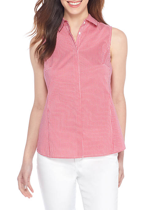 THE LIMITED Petite Sleeveless Woven Button-Up Blouse