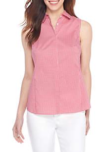 Sleeveless Woven Button-Up Blouse