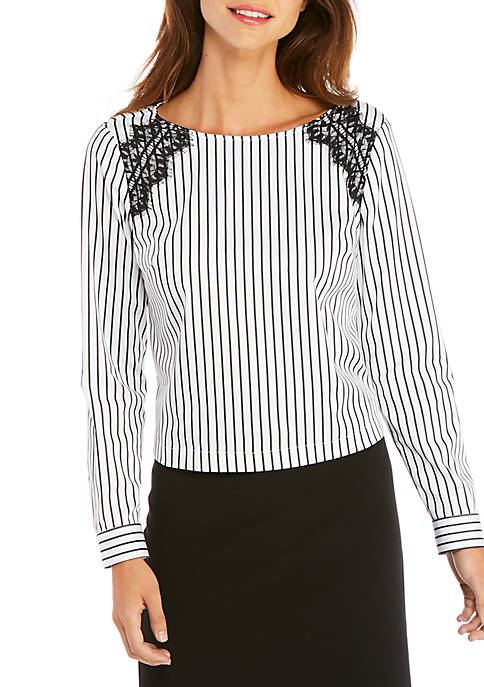 Petite Long Sleeve Stripe Shirt with Lace Inserts