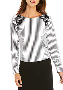Long Sleeve Stripe Shirt with Lace Inserts