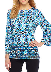 Boat Neck Bell Sleeve Blouse