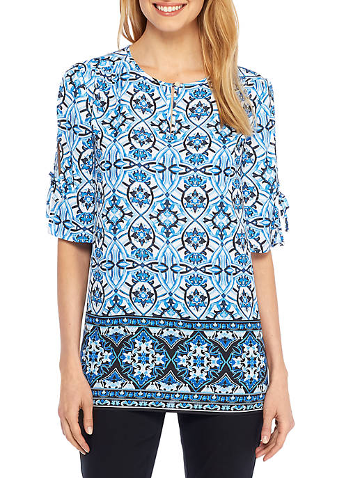 THE LIMITED Border Print Bell Sleeve Blouse