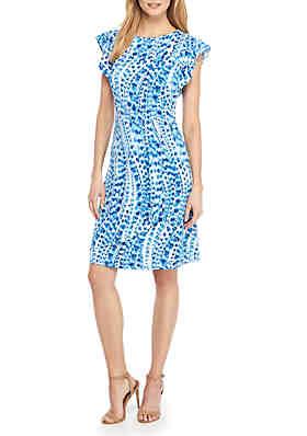 The Limited Pee Flutter Sleeve Jewel Neck Dress