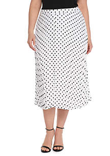 Plus Size Crepe Pleated Skirt