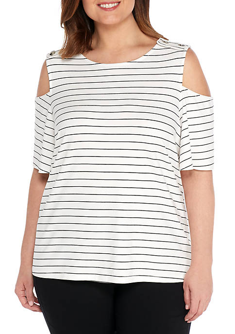 Plus Size Cold Shoulder Jersey Tee