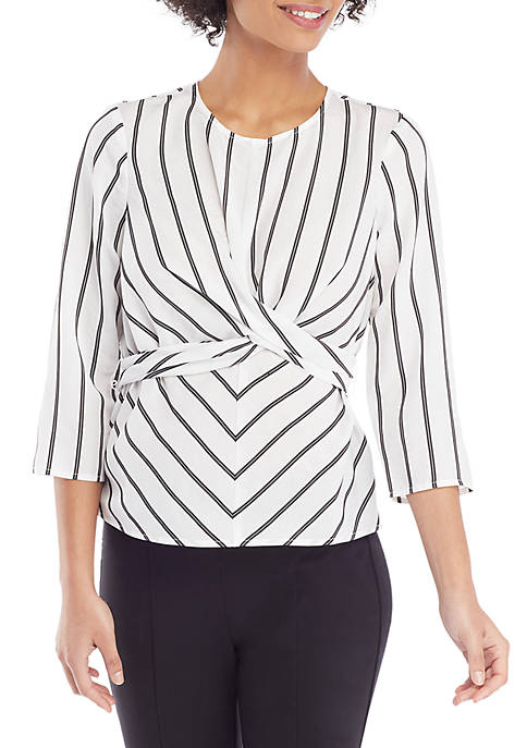 THE LIMITED Petite Long Sleeve Wrap Back Blouse