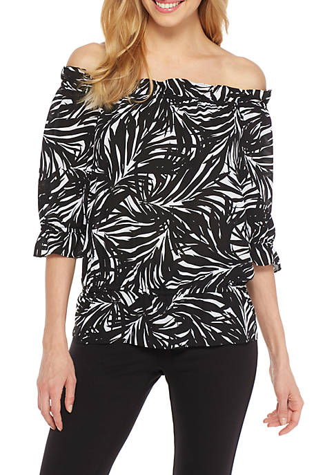 THE LIMITED Printed Off-the-Shoulder Blouse