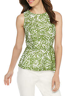 Sleeveless Printed Lace Peplum Top