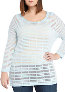 THE LIMITED Plus Size Burnout Stripe Sweater