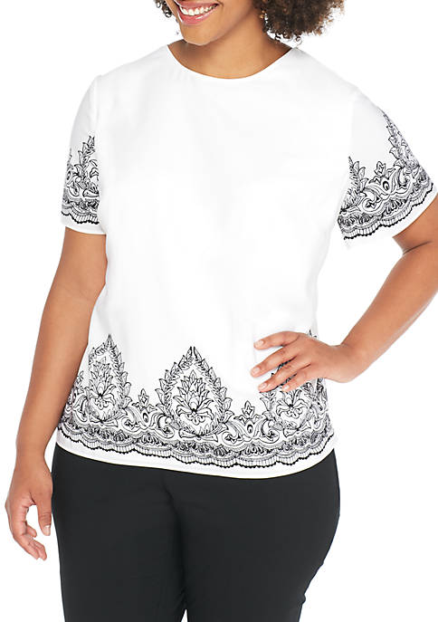 Plus Size Short Sleeve Boat Neck Top with Placement Print