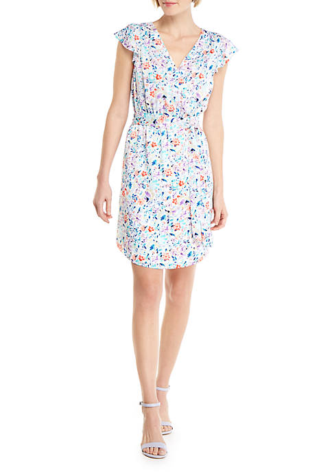 Petite Printed Flutter Dress