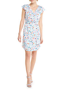 THE LIMITED Petite Printed Flutter Dress