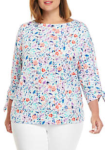 THE LIMITED Plus Size Print Banded Knit Top