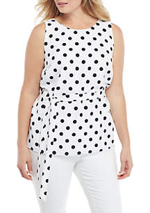 THE LIMITED Plus Size Sleeveless Tie Waist Top