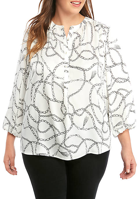 THE LIMITED Plus Size Mandarin Collar 3/4 Sleeve