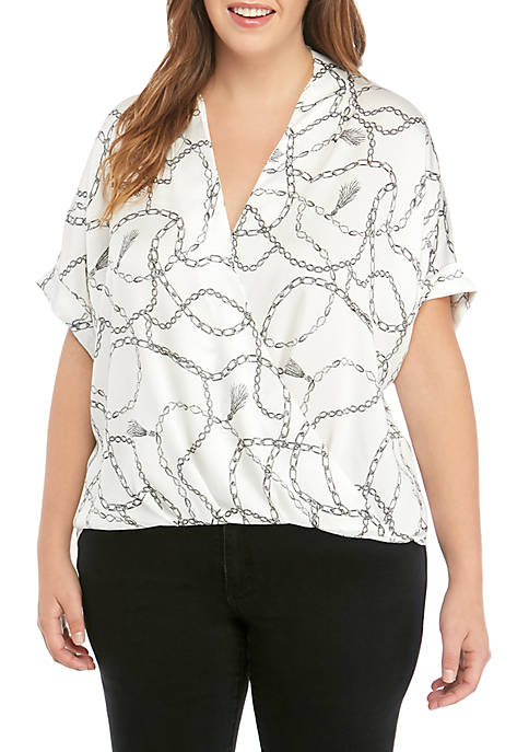 THE LIMITED Plus Size Cross Over Short Sleeve