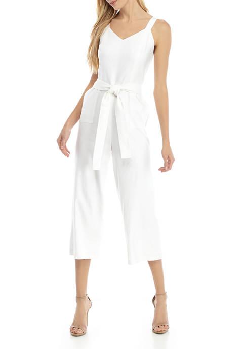 Womens Linen Tie Waist Wide Leg Crop Jumpsuit