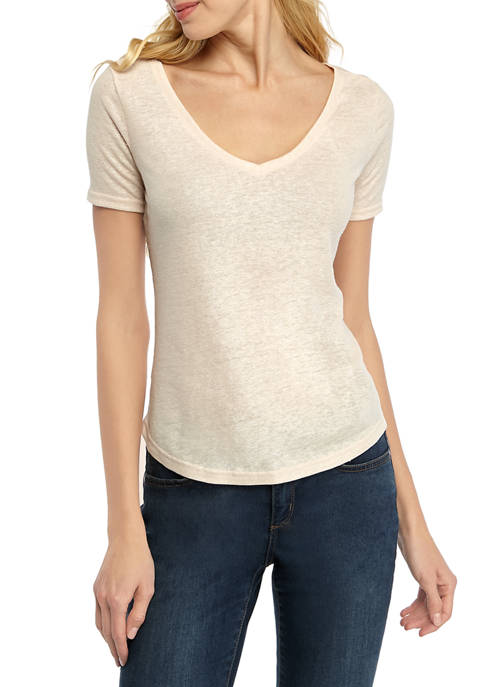THE LIMITED Womens Short Sleeve V Neck T-Shirt