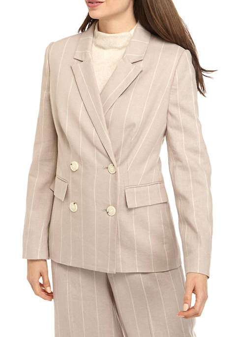 Womens Linen Double Breasted Blazer