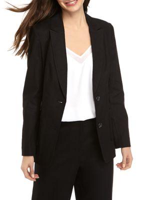 The Limited Womens Linen 2 Button Blazer