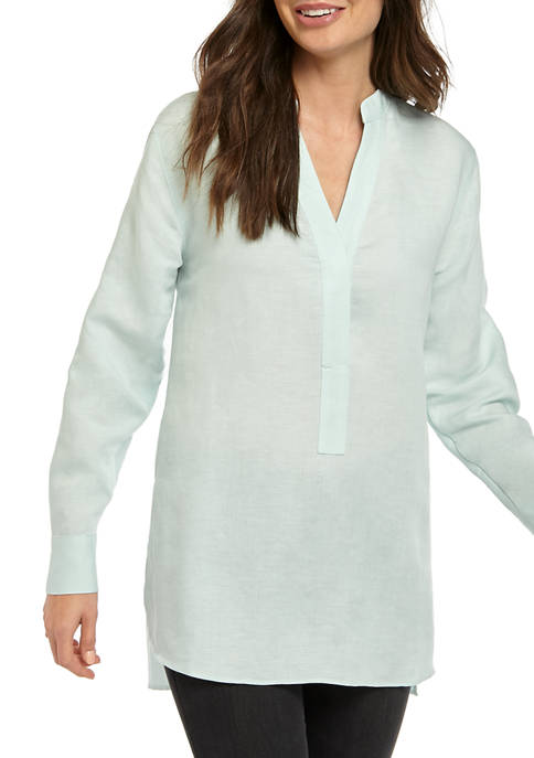 Womens Oversized Linen Tunic Top