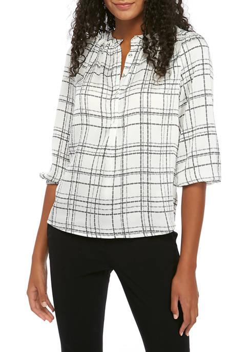 Womens Mandarin Collar 3/4 Sleeve Blouse