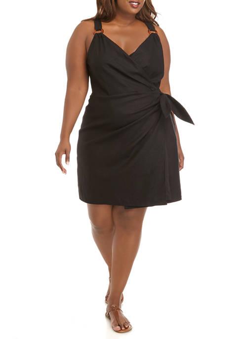 THE LIMITED Plus Size Linen Surplus Wrap Dress